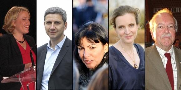 Danielle Simonnet, Christophe Najdovski, Anne Hidalgo, Nathalie Kosciusko-Morizet et Wallerand de Saint-Just: de gauche à droite la gentrification préoccupe.