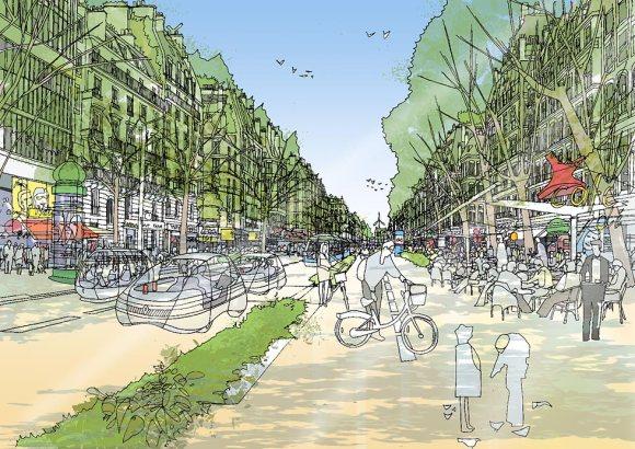 2030 : Avec ses rues vertes et authentiques et ses transports éco-responsables, le centre préservé de Paris attire une population croissante de touristes venus d'Inde et du Brésil. © Rogers Stirk Harbour + Partners.